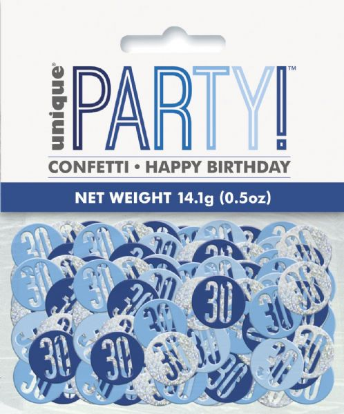 Glitz Blue Age 30 Table Confetti